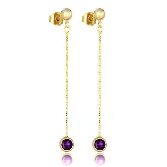 9ct Gold & 4mm Round Gemstone Drop Stud Earrings Amethyst
