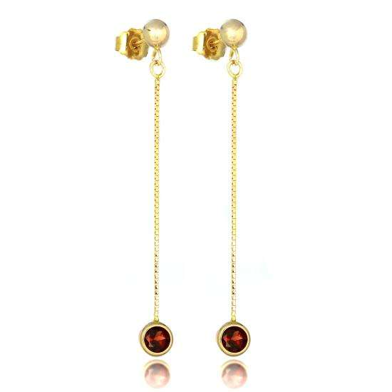9ct Gold & 4mm Round Gemstone Drop Stud Earrings Garnet