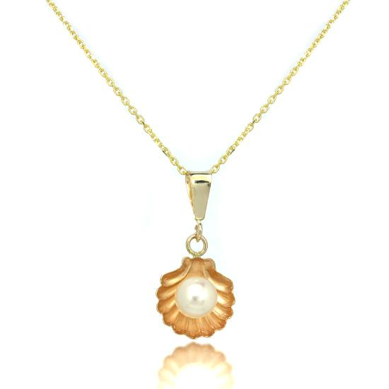 9ct Gold Sea Shell Pendant with Freshwater Pearl on Chain 16 - 20 Inches