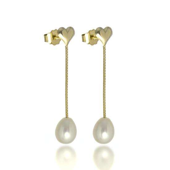 9ct Gold Heart Stud Earrings with Freshwater Pearl Drops
