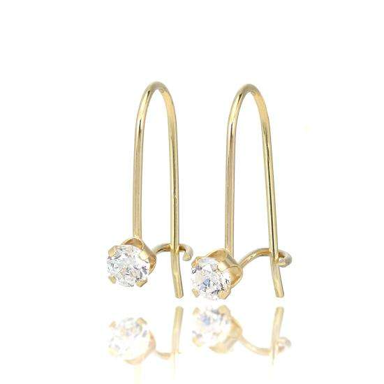 9ct Gold & 3mm Round Clear CZ Crystal Leverback Earrings