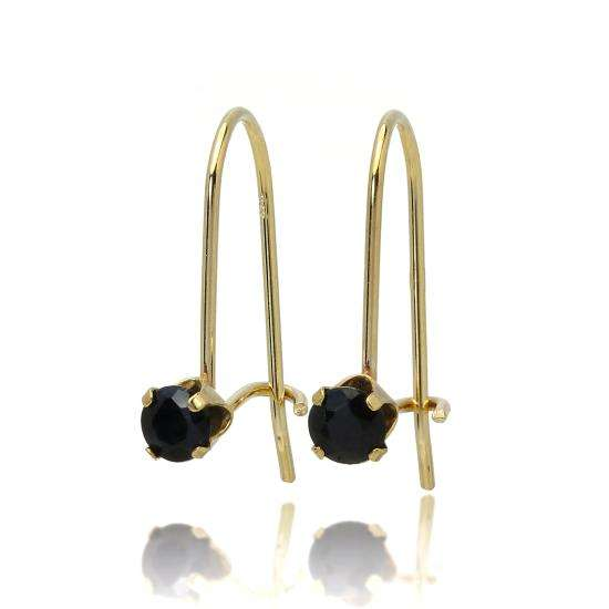 9ct Gold & 3mm Round Gemstone Leverback Earrings Sapphire