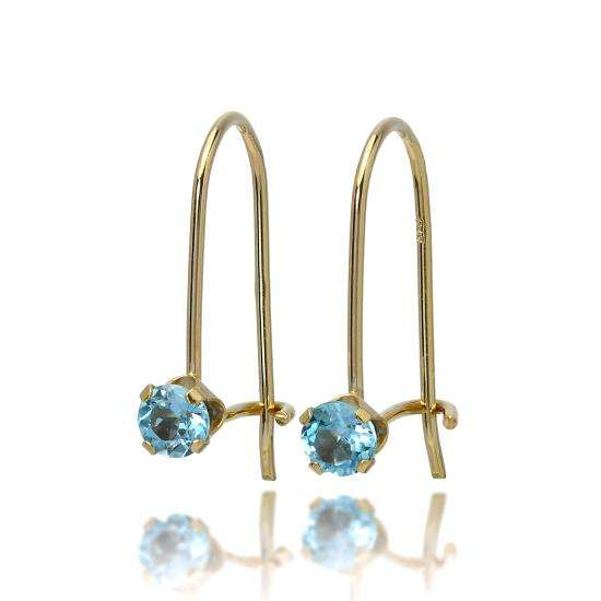9ct Gold & 3mm Round Gemstone Leverback Earrings Sky Blue Topaz