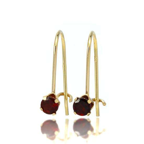 9ct Gold & 3mm Round Gemstone Leverback Earrings Garnet