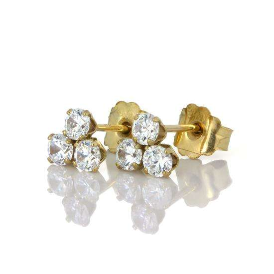 9ct Gold & 3 2.5mm Clear CZ Crystal Stud Earrings