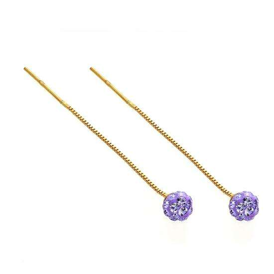 9ct Gold & Purple CZ Crystal Ball Pull Through Earrings