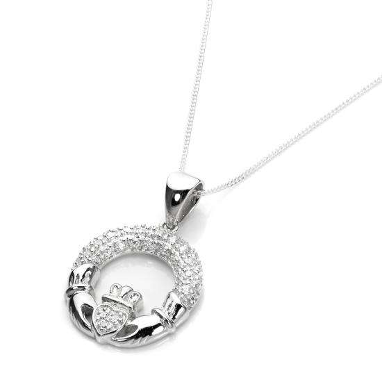 Sterling Silver Clear CZ Claddagh Pendant Necklace