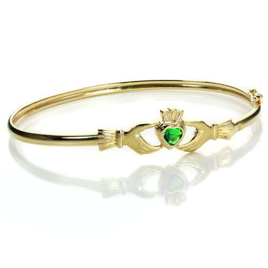 9ct Yellow Gold Emerald Crystal Claddagh Bangle