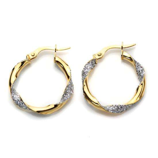 9ct Mixed Gold Twisted Hoop Earrings