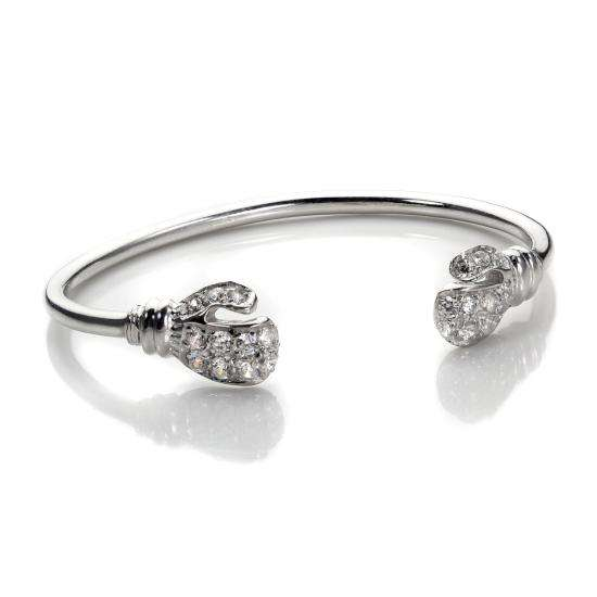 Sterling Silver Clear CZ Baby Boxing Glove Bangle