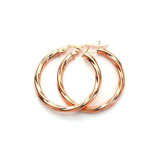 9ct Rose Gold 20mm Twisted Sleeper Hoop Earrings