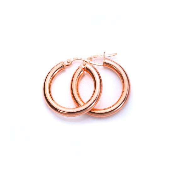 9ct Rose Gold 10mm Plain Sleeper Hoop Earrings