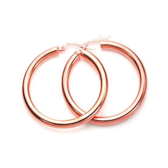 9ct Rose Gold 20mm Plain Sleeper Hoop Earrings