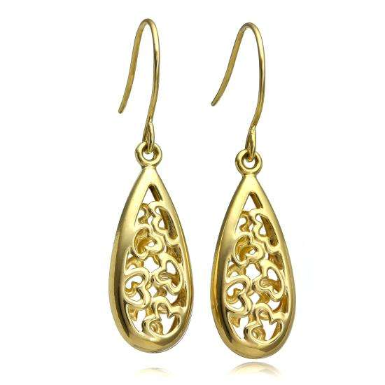 9ct Gold Open Heart Long Dangle Earrings