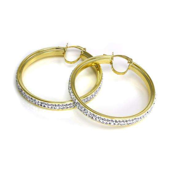 9ct Yellow Gold CZ Crystal Encrusted 39mm Hoop Earrings