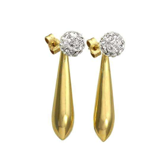 9ct Gold Long Drop Earrings with CZ Crystal 6mm Ball Studs