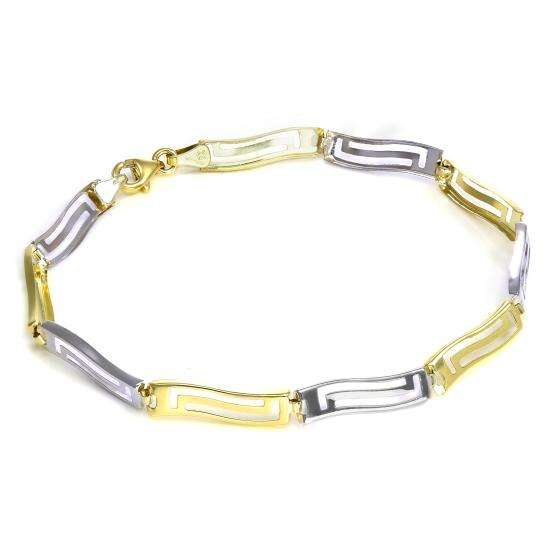 9ct White & Yellow Gold Greek Key Bracelet