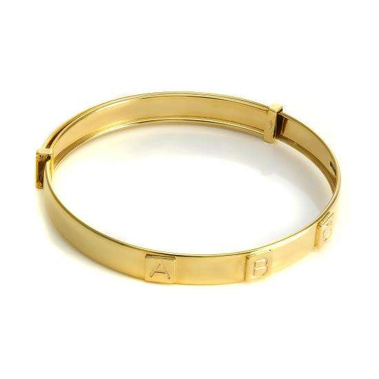 9ct Yellow Gold Expandable ABC Blocks Baby Bangle