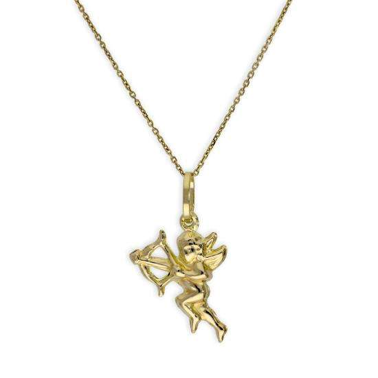 9ct Gold Cupid Angel Pendant Necklace Necklace 16 - 20 Inches