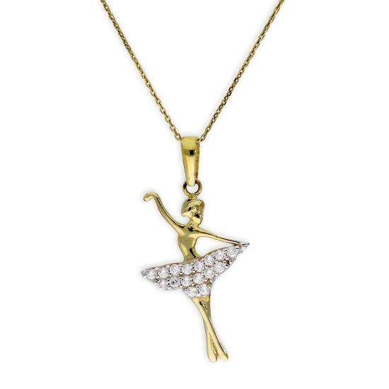 9ct Gold & CZ Crystal Ballet Dancer Pendant Necklace 16 - 20 Inches
