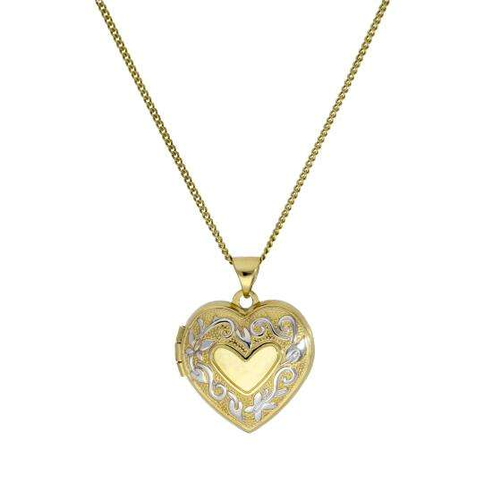 9ct Gold 4 Photo Heart Family Locket w White Gold Design on Chain 16 - 20 Inches