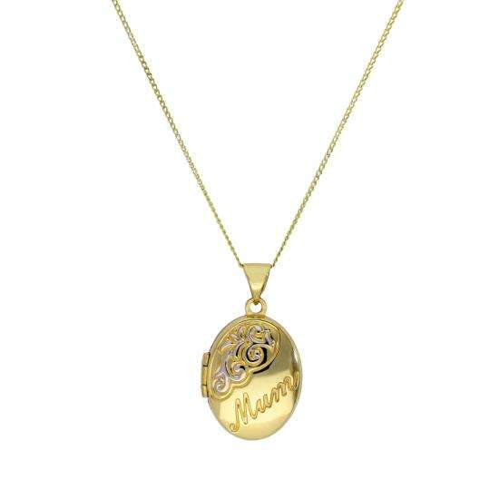 9ct Gold Oval Mum Locket with White Gold Design on Chain 16 - 18 Inches