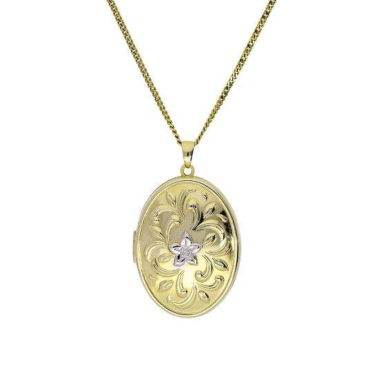 Large 9ct Gold Oval Locket w White Gold Floral Design on Chain 16 - 20 Inches