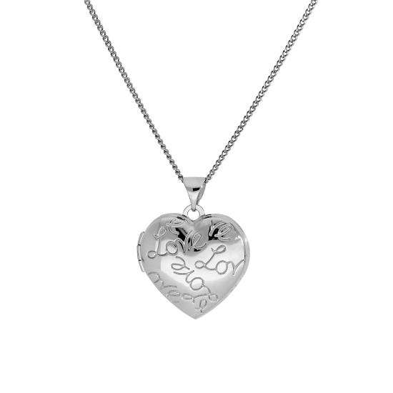 9ct White Gold Heart Love Locket on Chain 16 - 18 Inches