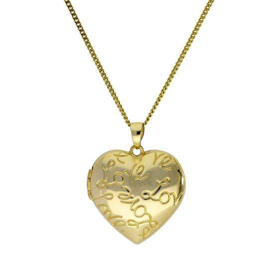 9ct Gold Heart Love Locket on Chain 16 - 20 Inches