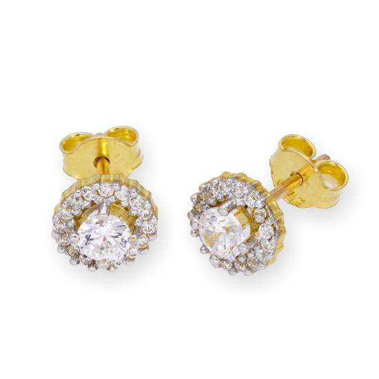 9ct Gold & Clear CZ Crystal Stud Earrings