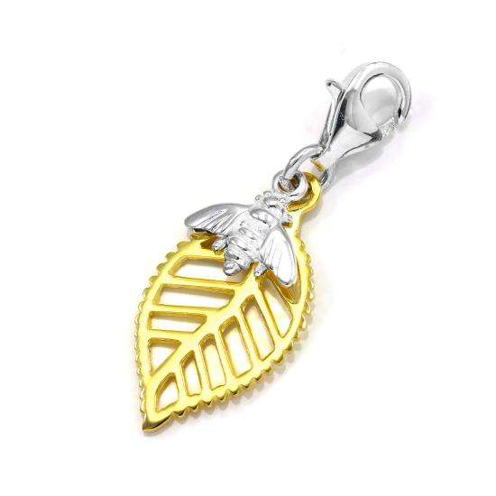 Abella Clip on Bee Charm in Sterling Silver & Plated Gold