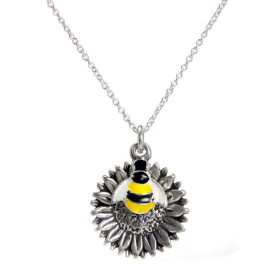 Abella Sterling Silver Enamel Bee on Sunflower Pendant Necklace