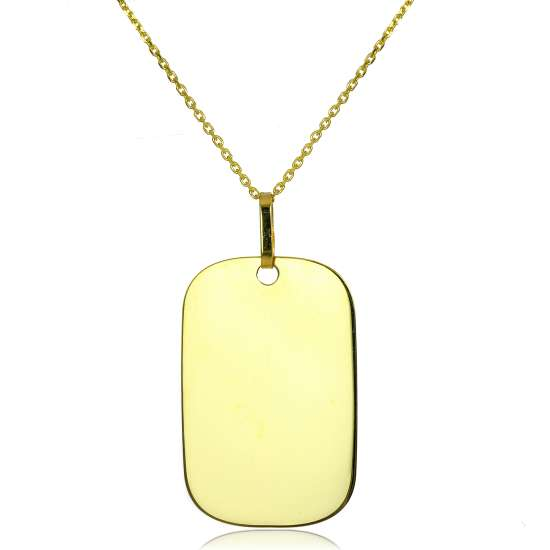 Large 9ct Yellow Gold Engravable Dog Tag Necklace 16 - 20 Inches