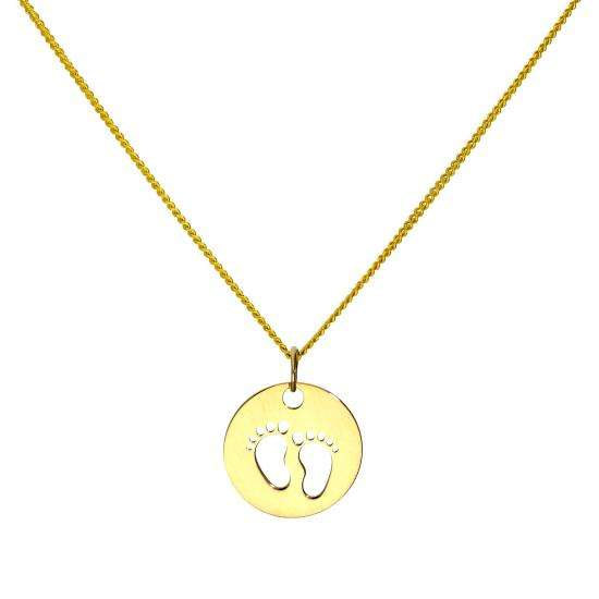 9ct Gold Charm w Cut Out Footprints Pendant Necklace 16 - 20 Inches