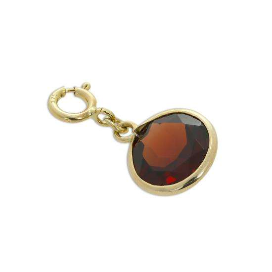 9ct Gold & Garnet CZ Crystal Round Clip on Charm