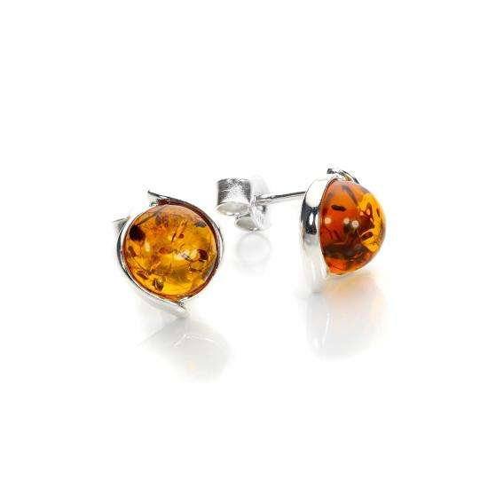 Sterling Silver & Baltic Amber Stud Earrings