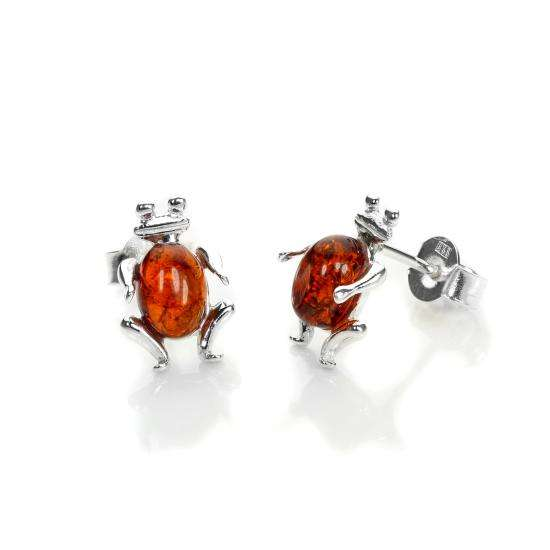 Sterling Silver & Baltic Amber Frog Stud Earrings