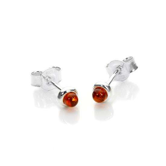 Small Sterling Silver & Baltic Amber Stud Earrings