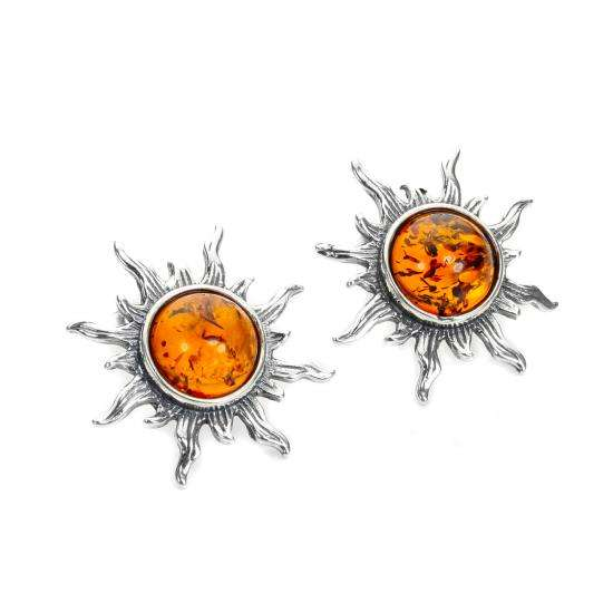 Sterling Silver & Baltic Amber Sun Stud Earrings