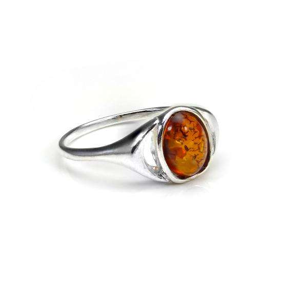 Small Sterling Silver & Baltic Amber Oval Ring