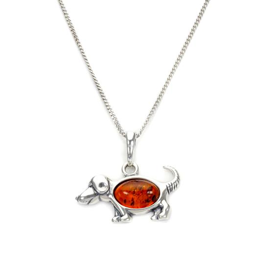 Sterling Silver & Baltic Amber Dog Pendant - 16 - 22 Inches