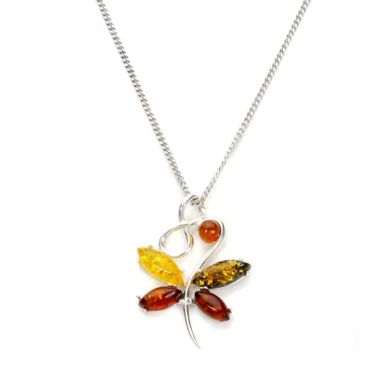 Sterling Silver & Multi Coloured Baltic Amber Butterfly Necklace - 16 - 22 Inches