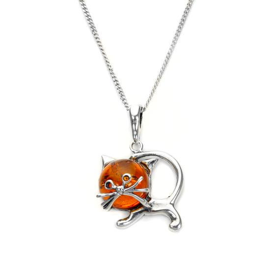 Sterling Silver & Baltic Amber Cat Pendant - 16 - 22 Inches