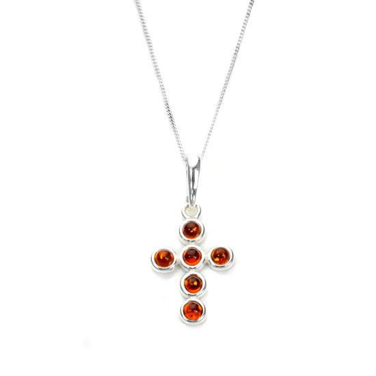 Sterling Silver & Baltic Amber Round Bead Cross Pendant - 16 - 22 Inches