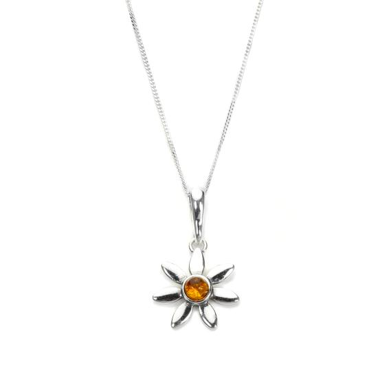 Sterling Silver & Baltic Amber Flower Pendant - 16 - 22 Inches