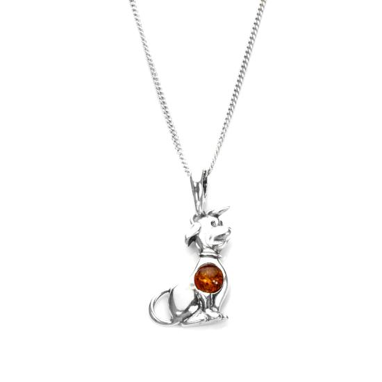 Sterling Silver & Baltic Amber Sitting Dog Pendant - 16 - 22 Inches