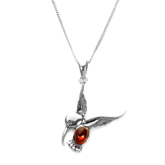 Sterling Silver & Baltic Amber Hummingbird Pendant - 16 - 22 Inches
