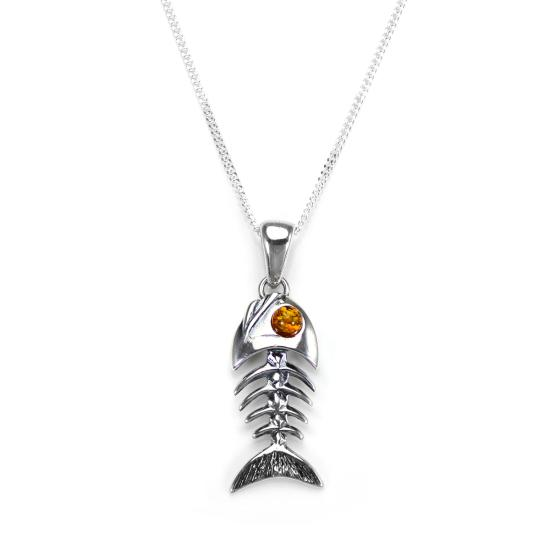 Sterling Silver & Baltic Amber Fish Pendant - 16 - 22 Inches