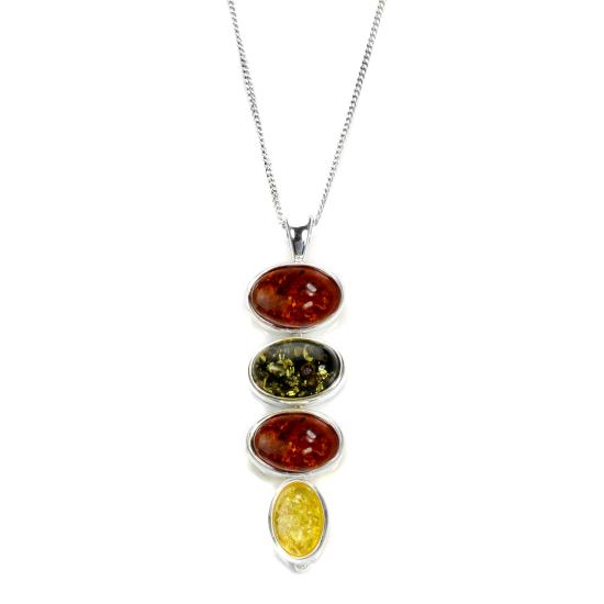 Sterling Silver & Multi-coloured Baltic Amber Drop Pendant - 16 - 22 Inches