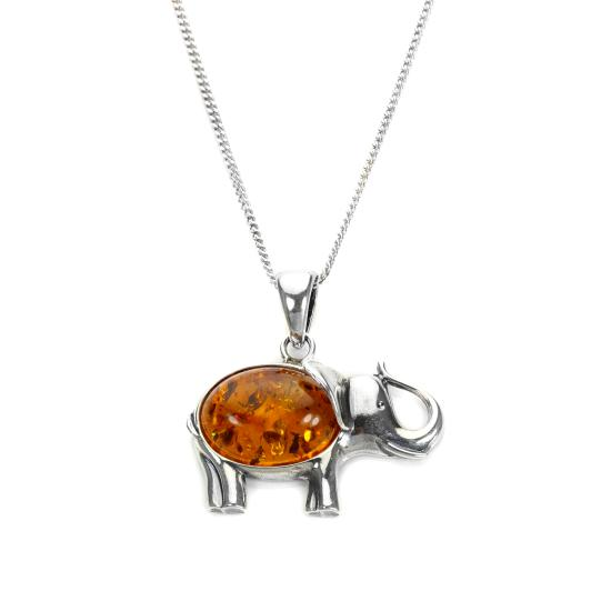 Sterling Silver & Baltic Amber Large Elephant Pendant - 16 - 22 Inches